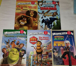 Qty 5 x I Can Read! Level 2 Books - Madagascar, Dragons, Shrek..