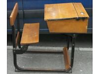 **REDUCED** Vintage Child's Wrought Iron And Wood Sleigh School Desk (A03-08)
