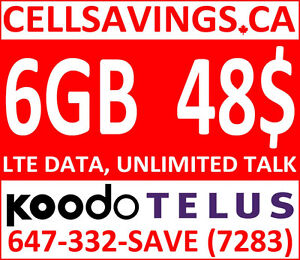 Unlimited 48$/Mth + 6GB LTE Data - Cellsavings.ca Plans by John