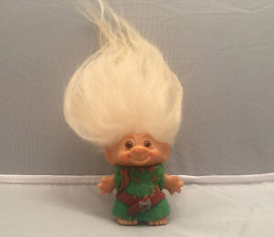 "Vintage Original Dam Troll Doll 3"" toy, long white hair 7"" Zelda"