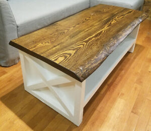*Brand new* Live Edge Coffee Table with Barn Door style base