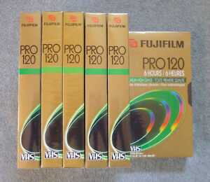 NEW Fujifilm Pro T-120 Blank VHS Tapes (6)