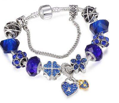 Silver Heart Locker Flower Bracelet Charm Sliding Beads Blue Crystal Gift Box BN Crystal Flower Slide Charm