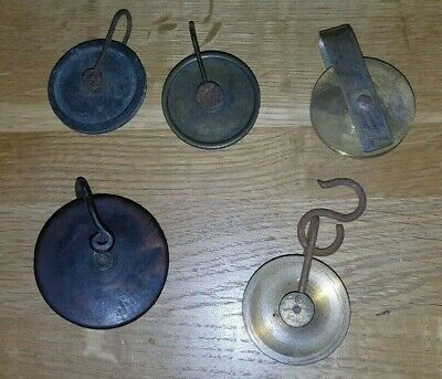 5 antique grandfather clock Parts  Pulleys