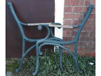 Pair Of Cast Iron Garden Bench Ends With Scroll Ends And Wooden Arm Rests