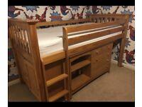 Kids wooden cabin bed