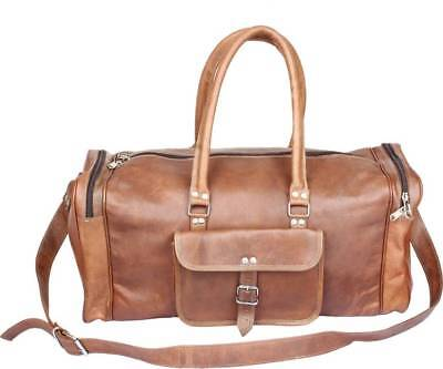 Men's Real Leather large vintage Hand duffle travel gym weekend overnight bag