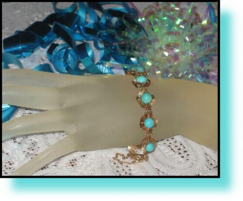 Estate Vintage Antique Victorian TURQUOISE Floral Link 9ct 9k ROSE GOLD Bracelet