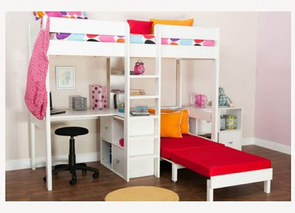 High Sleeper Bunk Bed With Desk And Sofa Bed Underneath In Boston