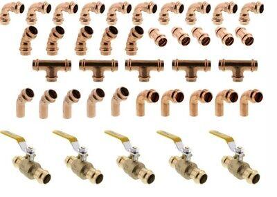 40 Pcs 34 Propress Copper Tees Elbows Coupling Ball Valve 45 Street 45 90