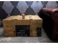 Fantastic Industrial Rustic Wood Crate Coffee Table One Off