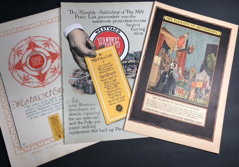 3 Diff C 1925 Westvaco Paper Co Advertising Ad Graphic Art Of Early Printing