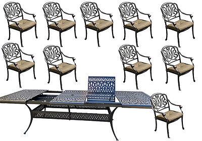 11 piece cast aluminum dining set patio furniture Elisabeth extendable table 132 Cast Aluminum Dining Furniture