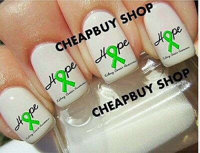 Flash Sale》GREEN HOPE RIBBON》KIDNEY CANCER AWARENESS》Nail Art Decals - Green Ribbon Tattoo