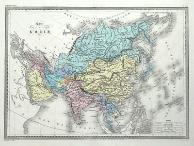 ASIA, Original Malte Brun, hand coloured antique map c1850