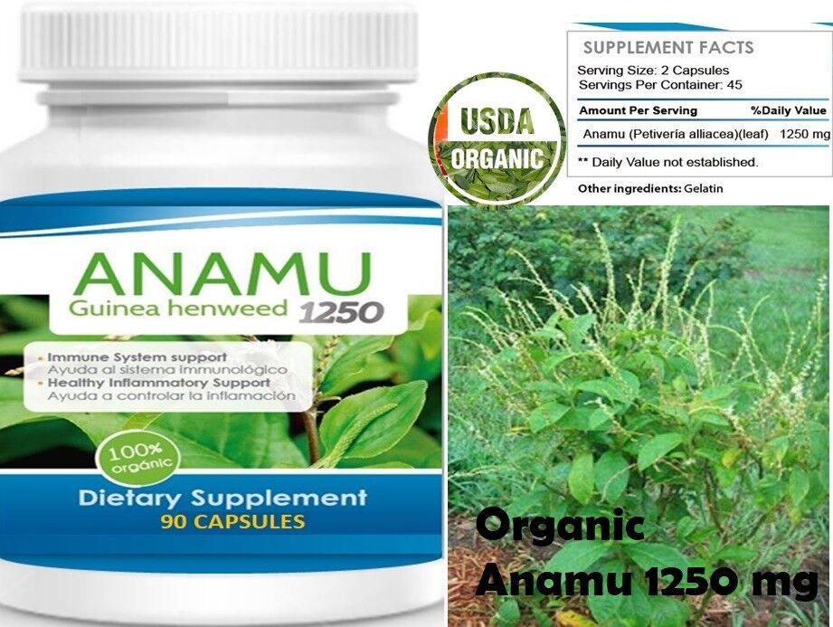 Anamu 100% Organic Petiveria Immune Support detoxification 90 capsules 1250mg Xb