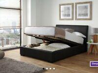 Brown faux leather king size ottoman bed