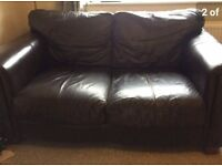 Brown leather 2 seater couch. Used, perfect condition