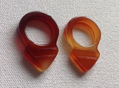 "1"" Old Idar Oberstein Khourb Orange Carnelian Tuareg Hair Ring Talisman Amulet"