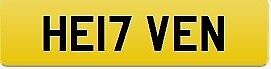 17 Private Registration Plate held on certificate ready to transfer to vehicle. HE17VEN