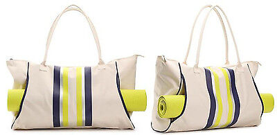 "DSW  STRIPED CANVAS WORKOUT LARGE TOTE GYM BAG  & 24"" YOGA MAT  NEW"