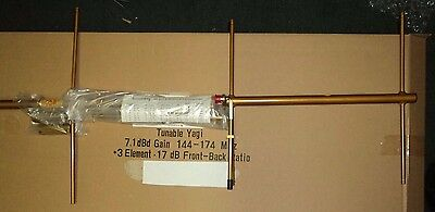 Tunable Yagi Base Antenna VHF 144 - 174 MHz 3 Elements 7.1 dBd Gain W/ Mount NEW