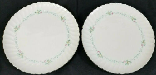 2 Syracuse China Silhouette Fine China Sweetheart Dinner Plates Silver Trim