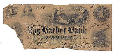 1860 The Egg Harbor Bank  Nj   One Dollar Obsolete Note No 16   Low Number