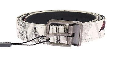 NEW $360 DOLCE & GABBANA Belt White Denim Bird Print Leather Mens 85cm / 34in