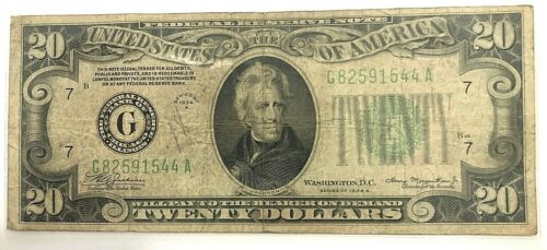 1934 A $20 Federal Reserve Note Chicago, IL- VF