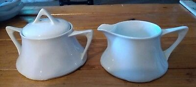 Vintage Z & S and Co Bavaria Sugar Creamer Plain white Creamer tiny chip - spout