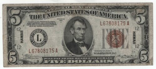1934 A $5 Federal Reserve Note Hawaii Overprint Circulated Problem Free VF