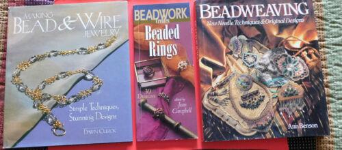 Lot of 3 BEAD JEWELRY MAKING books 2 hc/dj 1 sc BEADED RINGS