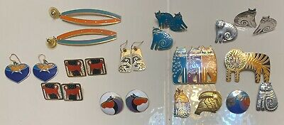 Dress Up As Animals (Lot of 14 Mixed Signed Laurel Burch Gold Enamel Cat,Animal Earring,Pin As)