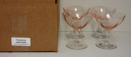 Forstoria 5098 PINK Low Champagne Glasses SET OF FOUR Versailles Blank MINT