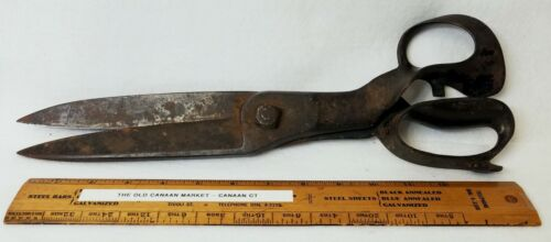 Large Antique Fabric Shears Scissors - Right Handed