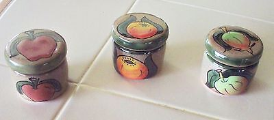New Mexican Pottery 3 Assorted Hand Painted Round Trinket Box / Candle Holder E