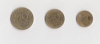 5 ,10 und 20 Centimes Frankreich  1994    (1892)   andere Jahrgänge auf Anfrage