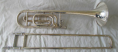 Used Bach USA F Trigger Trombone with Case Silver Plate Indented Bow