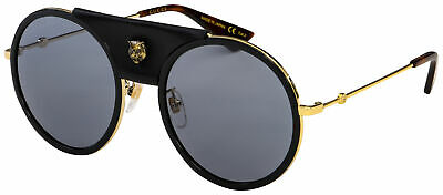 Gucci Sunglasses GG0061S 016 Gold Frame | Grey Lens