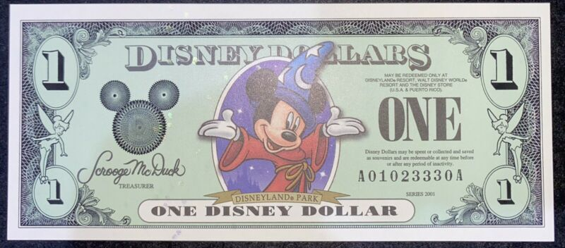 2001 Disney Dollars $1 Mickey Mouse A Series Uncirculated Condition