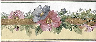 ELEGANT PINK AND BLUE FLORAL ON WHITE/TAN SILK WALLPAPER BORDER