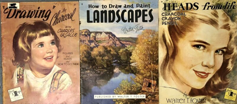 Vintage Grumbacher & Walter Foster Painting & Drawing ART Books LOT of 3