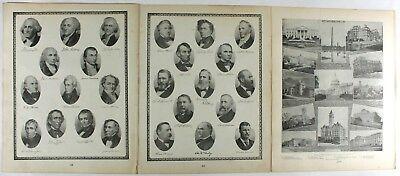 United States President Portraits Original Vintage 1889 Tunisons World Atlas