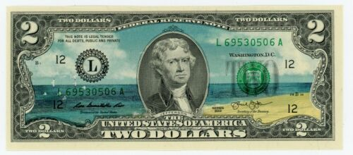 Colorized 2 Dollar Federal Reserve Note - Life