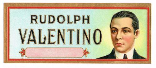 CIGAR BOX LABEL VINTAGE 1930 RUDOLPH VALENTINO SILENT MOVIES ACTOR STAR SMALL!!