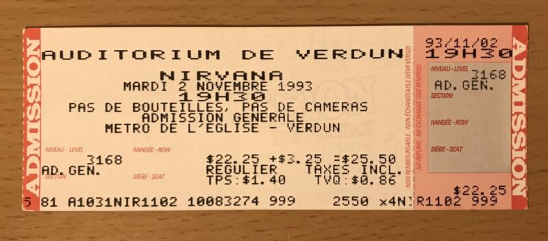1993 NIRVANA MONTREAL CONCERT TICKET STUB KURT COBAIN DAVE GROHL IN UTERO TOUR