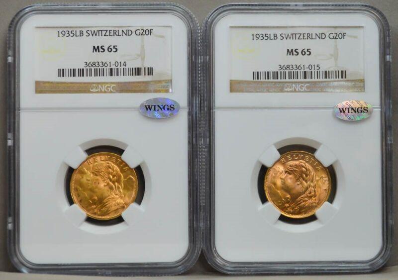 Two 1935 LB Switzerland Gold 20 Francs MS65 NGC ~ WINGS .3734 AGW  924162-11