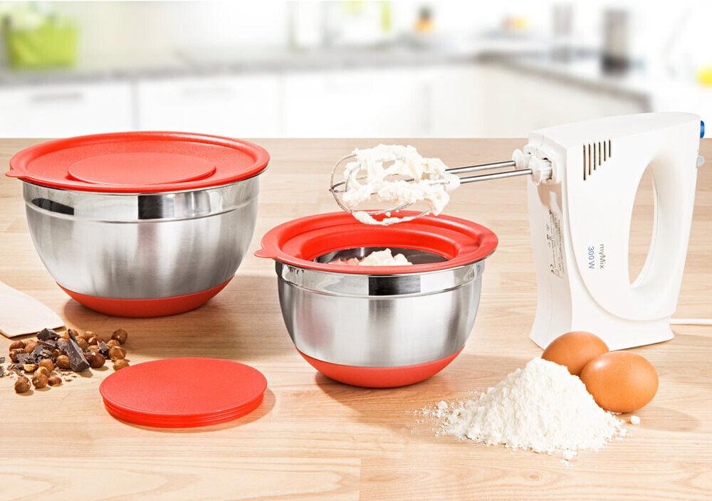 2 tlg. Schüssel Set Edelstahlschüssel mit Deckel Salatschüssel Servierschüssel