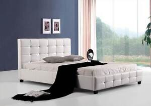 NEW ON SALE - Double PU Leather Deluxe Bed Frame White Silverwater Auburn Area Preview